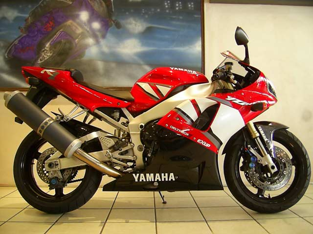 Red and White Yamaha YZF R1