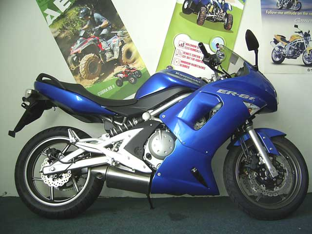 Blue, 2008 Kawasaki ER6F with ABS