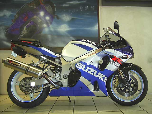 Blue and White Suzuki GSXR1000 K2