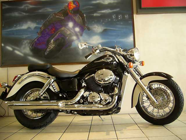 Black 2002 Honda Shadow 750